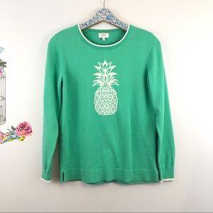 Crown & Ivy size medium teal pineapple sweater